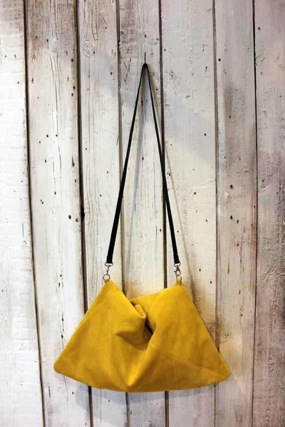 TRIANGLE BAG handmade suede bag image 3