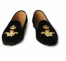 Handmade Men's Black Embroidered Slip Ons Loafer Velvet Shoes image 2