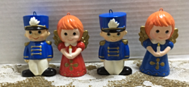 Vintage Set Of Four Paper Mache Toy Soldier Angel Christmas Ornaments Decor - $20.00