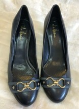 Cole Haan Navy Blue Heels Shoes Size 8.5 Buckle Cushion Short Heel - $29.69