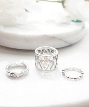 Geometric Midi Rings Set, Knuckle Rings Set, Pinky Rings - $12.40