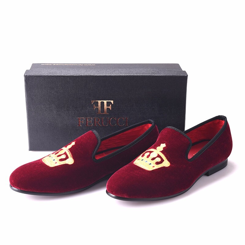 6a7156e6abc3 Handmade FERUCCI Burgundy Men Velvet Slippers loafers with Crown davucci