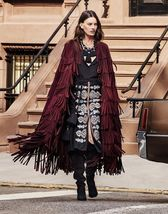WOMEN'S NEW IN FASHION FRINGES SUEDE LEATHER CAPE PONCHO BOHO HIPPY SHAWL WC132 image 9