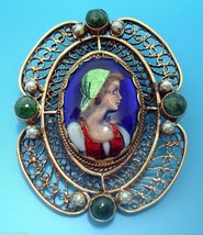 14K Gold French Enamel Brooch with Seed Pearls and Agates (#2951) - $755.25