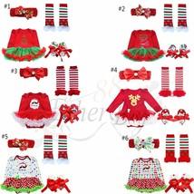 4Pcs Toddler Baby Infant Clothes Dress Girl Xmas Outfit Tutu Newborn Rom... - $15.99