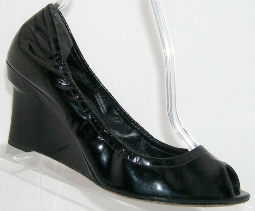 Primary image for Vera Wang 'Jesse' black peep toe patent leather wedges 8M EU 39