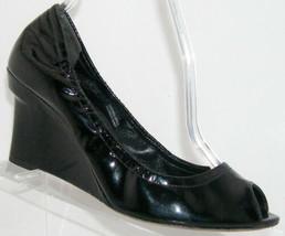 Vera Wang 'Jesse' black peep toe patent leather wedges 8M EU 39 - $24.27