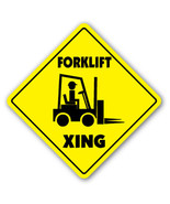 FORKLIFT CROSSING Sign xing gift novelty fork lift hydraulic pallets fluids - $9.89
