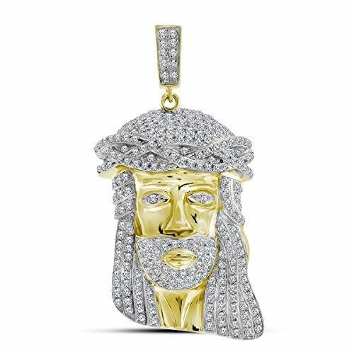 Primary image for 10kt Yellow Gold Mens Round Diamond Jesus Christ Face Charm Pendant 1-1/4 Cttw