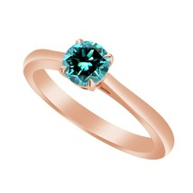 1/2 Ct Blue Topaz 10k Rose Gold Over Solitaire Wedding Engagement Ring - $79.99