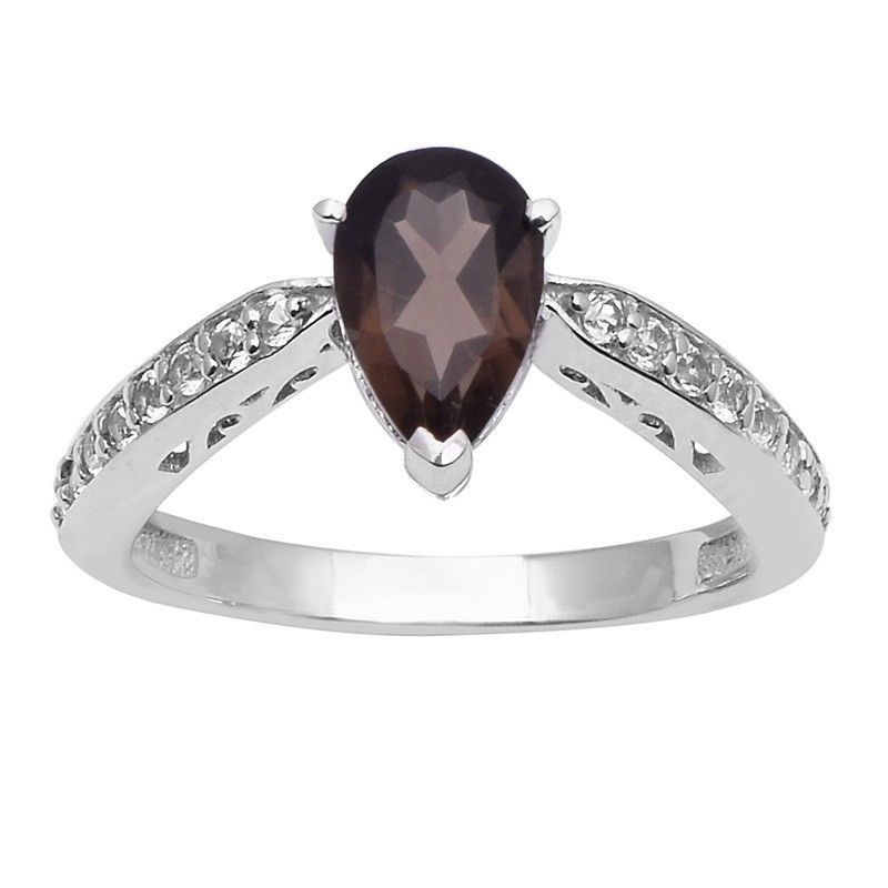 Smoky Quartz & White Topaz 925 Sterling Silver Ring Jewelry Size-8 SHRI1488