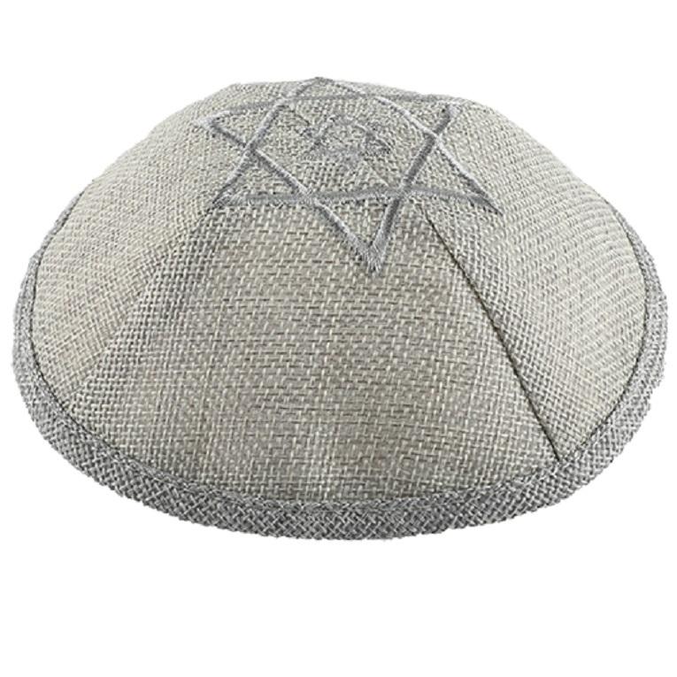 Gray Linen Kippah Silver David Star Embroidery w Pin Spot Judaica 17 cm Israel