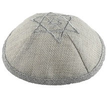 Gray Linen Kippah Silver David Star Embroidery w Pin Spot Judaica 17 cm Israel  image 1
