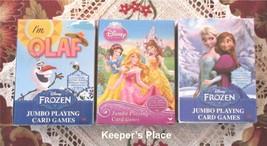 Set Of 3 Disney Frozen Olaf Elsa Anna Cinderella Jumbo Playing Cards Sealed - $9.99