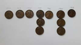 U.S. Lincoln Wheat Penny Lot, 1917, 1919, 1935, 1939, 1942, 1944, 1953 W... - $5.00