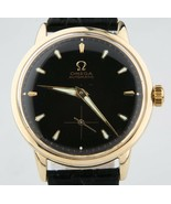 Omega Ω Vintage Men's 14k Yellow Gold Automatic Watch w/ Black Leather S... - $1,983.64