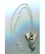 mermaid stone necklace gemstone pendant silver chain fantasy fairytale j... - $7.99
