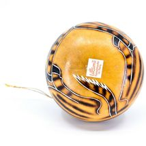 Handcrafted Carved Gourd Art Zebra Zoo Animal Ornament Made in Peru image 5