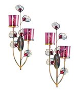 2 PINK PEACOCK Wall Sconces Candle Holder  - $41.89