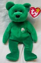 "Ty Beanie Baby Green Erin W/ Shamrock Teddy Bear 8"" Stuffed Animal Toy New - $14.85"