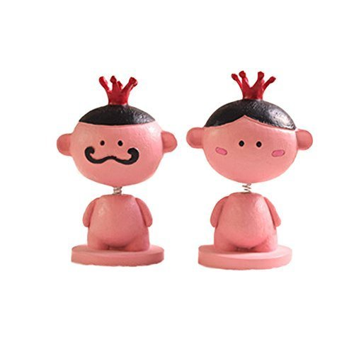 PANDA SUPERSTORE Set of 2 Lovely King&Queen Car Ornaments Resin Interior Auto Tr