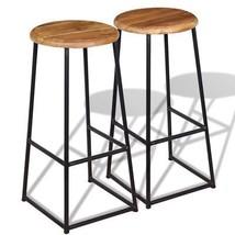 vidaXL Set of 2 Solid Teak Metal Bar Stools Round Wooden Top Kitchen Hom... - $113.99