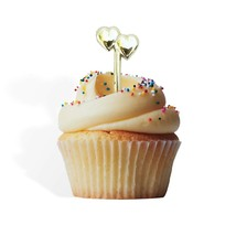 12 Gold Double Hearts Cupcake Cake Picks Weddings Valentine's Day Annive... - $7.69