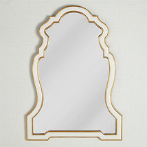 Two Toned Intricate Arched White Gloss & Gold Wall Mirror Art Deco Glam ... - $365.54