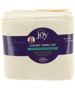 JOY C & J Set of 4 Hand Towels Dobby Buttercream One Size NEW 558-270 - $31.66