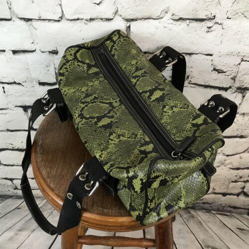 Nine West Green & Black Faux Alligator Croc Shoulder Bag Tote Canvas Straps Flaw