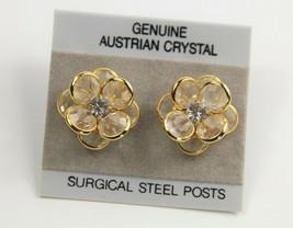 VINTAGE Jewelry BEZEL SET CLEAR AUSTRIAN CRYSTAL FLOWER EARRINGS ON CARD  - $10.00