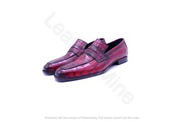 Handmade Men's Red Patina Crocodile Leather Dress Loafers Shoes For Men - $164.89+