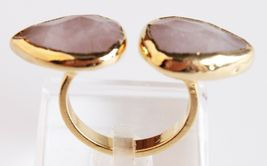 New Janna Conner Women's Gold Plated Rose Quartz Fashion Ring Size 7 image 4