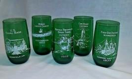5 VINTAGE Norfolk ANCHOR HOCKING Navy FOREST GREEN Virginia TUMBLER GLAS... - $49.49