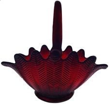"1980's L.E. Smith Glass Ruby Red Sanford Feather Pattern 13""l Decorative... - $189.99"
