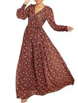 Ofenbuy Wmens Floral Print Sexy V Neck Maxi Dresses Long Sleeve High Waist Belt