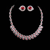 Red Rhinestone necklace / red rivoli earrings / Vintage Stunning demi pa... - $145.00