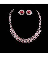 Red Rhinestone necklace / red rivoli earrings / Vintage Stunning demi pa... - $145.00
