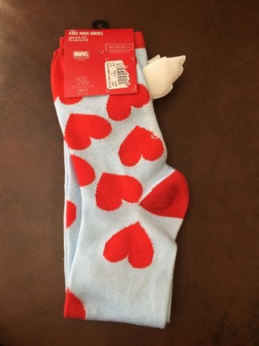 Captain America Knee-High socks size 9-11 DC Comics Valentines Cupid Wings NWT