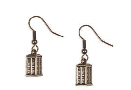 Doctor Who, Bronze TARDIS, Women's Dangle Earrings, Jewelry, Vintage