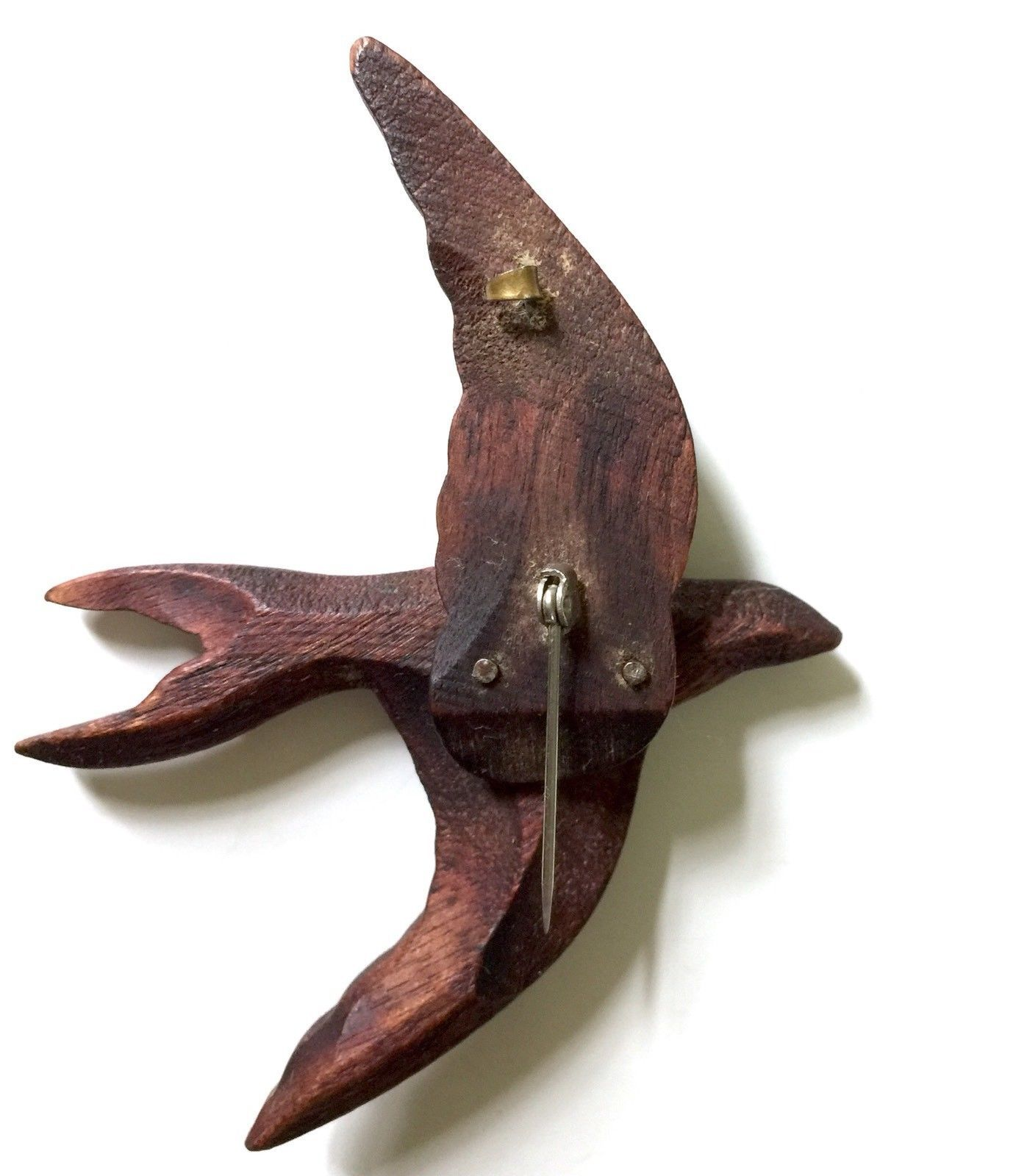 "Swallow Bird Brooch Pin 3.5"" Carved Wood Vtg Folk Art"