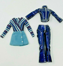 Retro Y2K Barbie Outfit Lot Metallic Purple Pleather Groovy Corduroy Tre... - $19.99