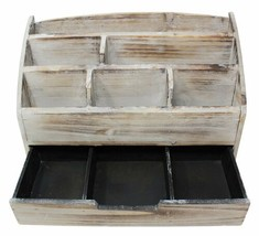 Wooden Desk Organizer 6 Compartment Vintage Rustic Mails Supplies Sorter... - $66.05