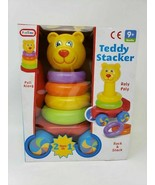 Teddy Stacker Develops Hand & Eye Coordination Pull Along Bright Colors New - $23.36