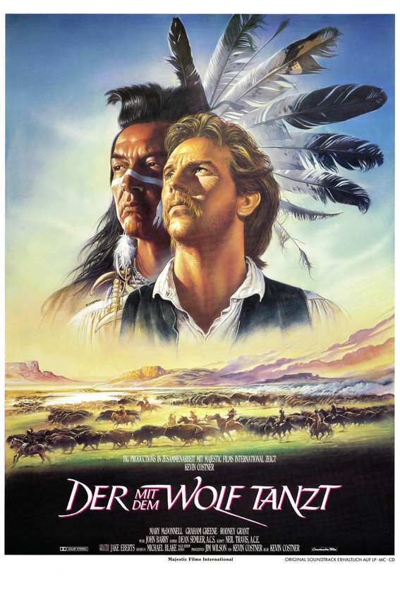 Kevin Costner and Graham Greene in Dances with Wolves German Artwork 16x20 Canva - $69.99