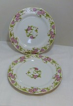 Hira China Made in Occupied Japan Set of 2 Dinner Plates Pink Flowers; G... - $2.98