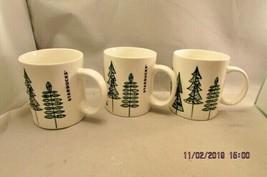 Starbucks Christmas Coffee MUG Holiday Green Trees 12 oz Set of 3 Mugs 2015 - $14.89