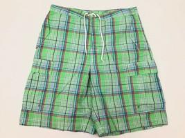 POLO Ralph Lauren Plaid Lime Green CARGO Swim Wear Board Shorts Drawstring 34 - $21.88