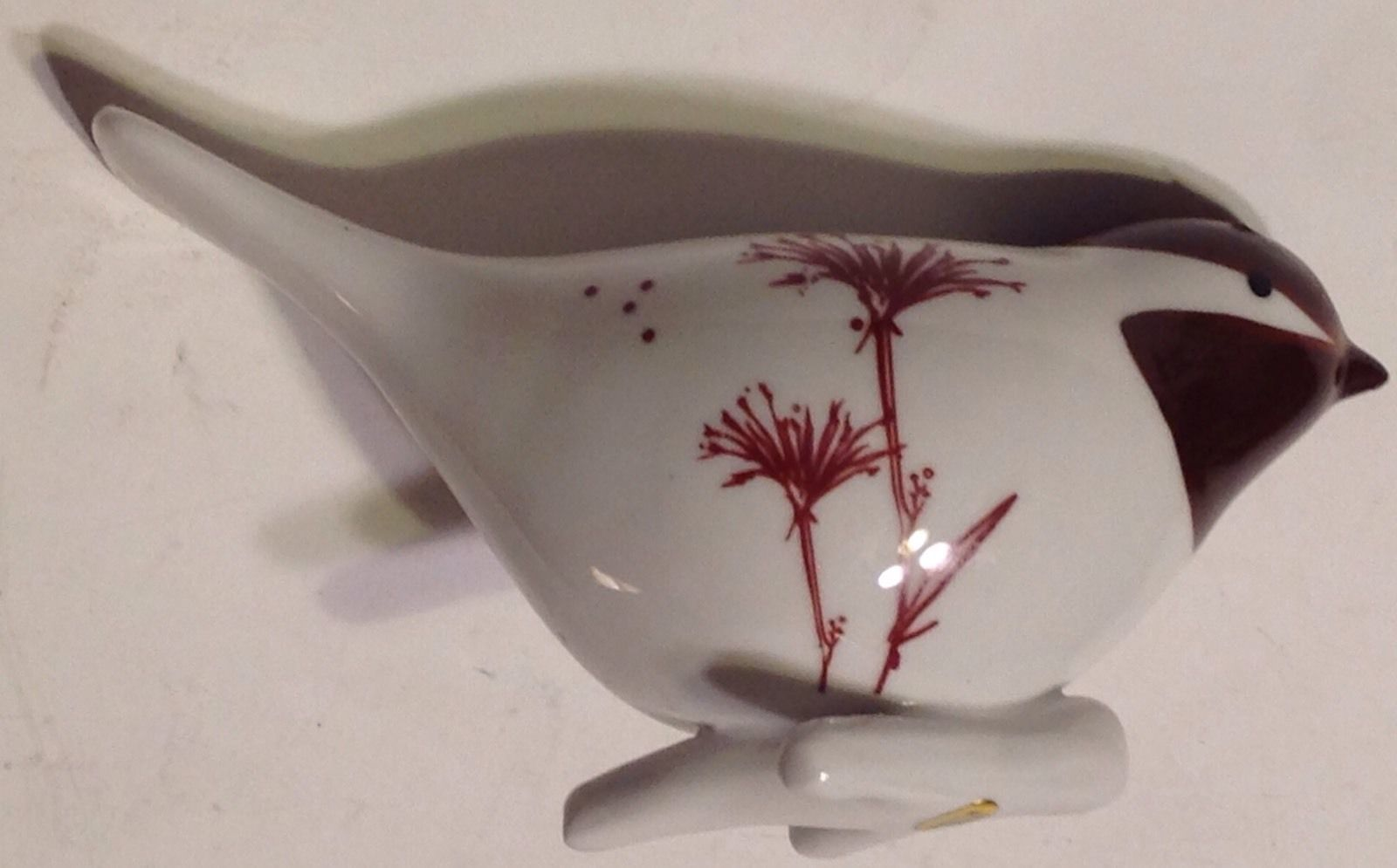 Figurine Porcelain Song Bird on Branch Brown White