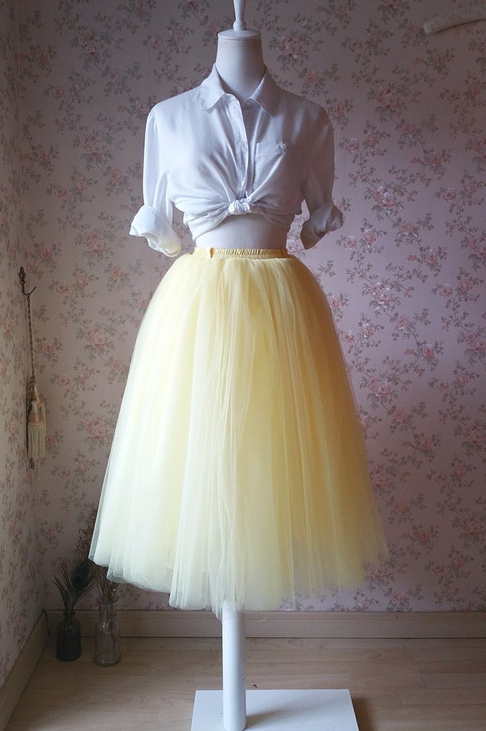 YELLOW Tulle Midi Skirt Outfit High Waisted 4-Layered Midi Tutu Puffy Skirt
